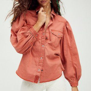 Free People We The Free With Love Denim Top